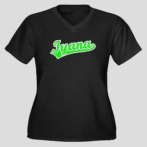 Retro Iyana (Green) Women's Plus Size V-Neck Dark
