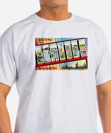 Seattle Washington Greetings (Front) T-Shirt