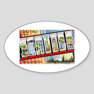 Seattle Washington Greetings Oval Sticker