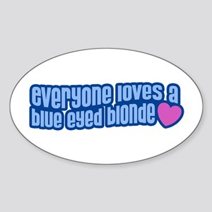 Blue Eyed Blonde Oval Sticker