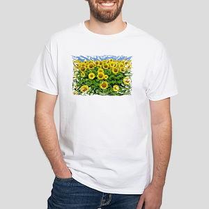 Sunflower Cluster White T-Shirt
