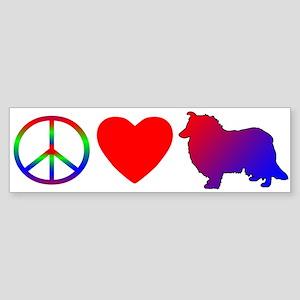 Peace Love Rough Collie Bumper Sticker