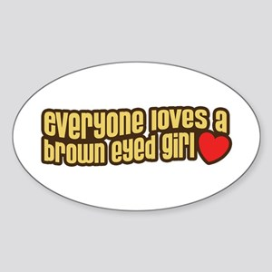 Brown Eyed Girl Oval Sticker