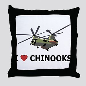I Love Chinooks Throw Pillow