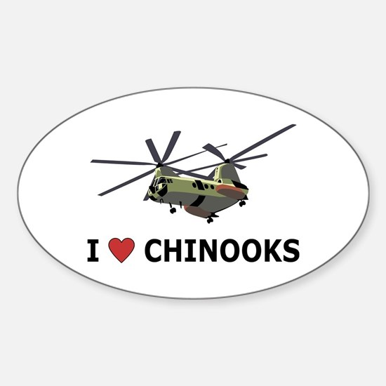 I Love Chinooks Oval Bumper Stickers