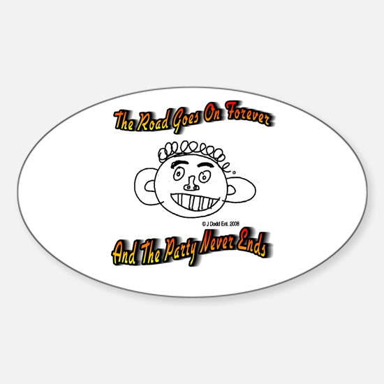The Road Goes On Forever Oval Decal