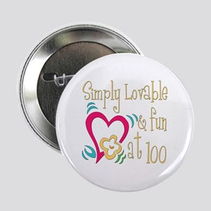"Lovable 100th 2.25"" Button"