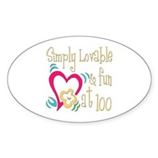 Lovable 100th Oval Sticker