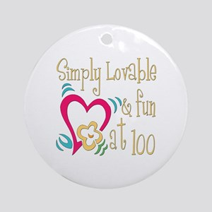 Lovable 100th Ornament (Round)