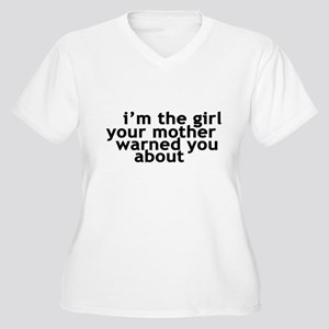 I'M THE GIRL YOUR MOTHER WARN Women's Plus Size V-