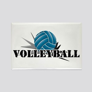 Volleyball starbust blue Rectangle Magnet