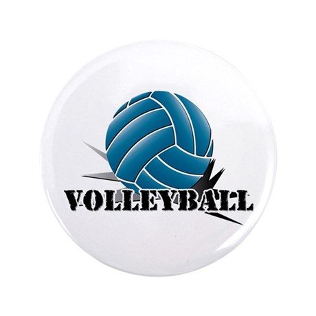 "Volleyball starbust blue 3.5"" Button"