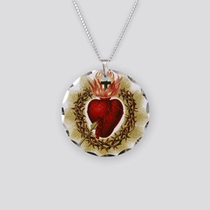 Sacred Heart Necklace Circle Charm