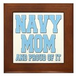 Navy Mom and Proud of it Framed Tile