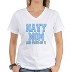 Navy Mom and Proud of it Women's V-Neck T-Shirt