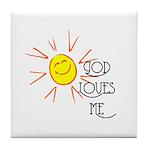God Loves Me Tile Coaster