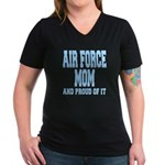 Air Force Mom Women's V-Neck Dark T-Shirt