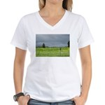 Mailbox and Field Scenic Women's V-Neck T-Shirt