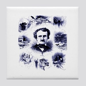 Poe and His Works Tile Coaster
