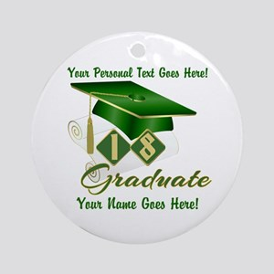 Green Cap and Diploma Round Ornament