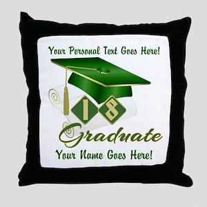 Green Cap and Diploma Throw Pillow
