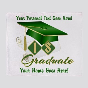 Green Cap and Diploma Throw Blanket