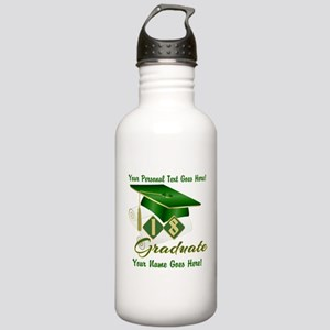 Green Cap and Diploma Water Bottle
