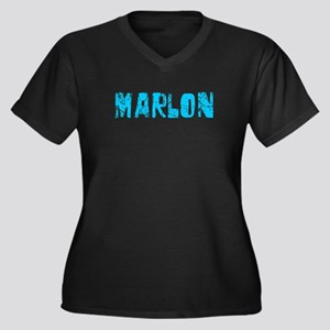 Marlon Faded (Blue) Women's Plus Size V-Neck Dark