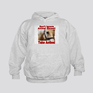 Don't ignore animal abuse! Kids Hoodie