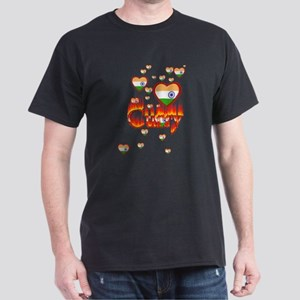 (Hearts - Indian Flag) Curry - Dark T-Shirt