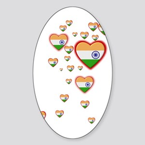 Hearts (Flag - India) - Oval Sticker
