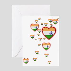 Hearts (Flag - India) - Greeting Card