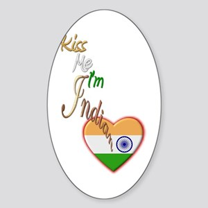 Kiss Me, I'm Indian - Oval Sticker