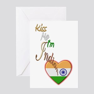 Kiss Me, I'm Indian - Greeting Card