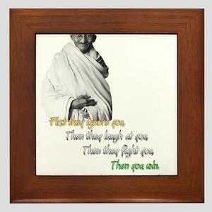 Mahatma Gandhi Picture + Text - Framed Tile