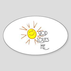 God Loves Me Oval Sticker