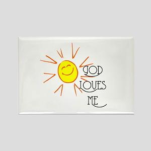 God Loves Me Rectangle Magnet