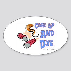 Curl Up And Dye Salon Oval Sticker