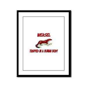 Weasel trapped in a human body Framed Panel Print