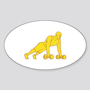 Fitness Athlete Push Up Dumbbell Drawing Sticker