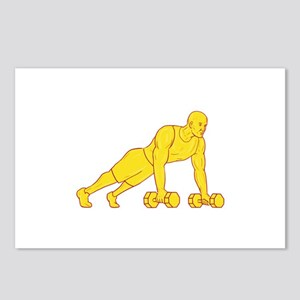Fitness Athlete Push Up Dumbbell Drawing Postcards