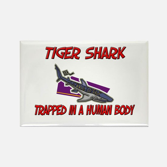 Tiger Shark trapped in a human body Rectangle Magn