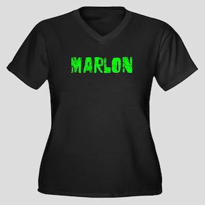 Marlon Faded (Green) Women's Plus Size V-Neck Dark
