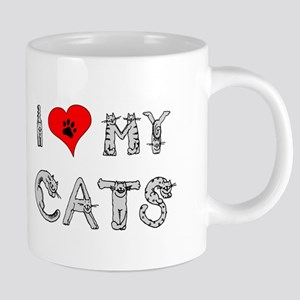 I love my cats / heart Mugs