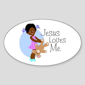 Jesus Loves Me Oval Sticker