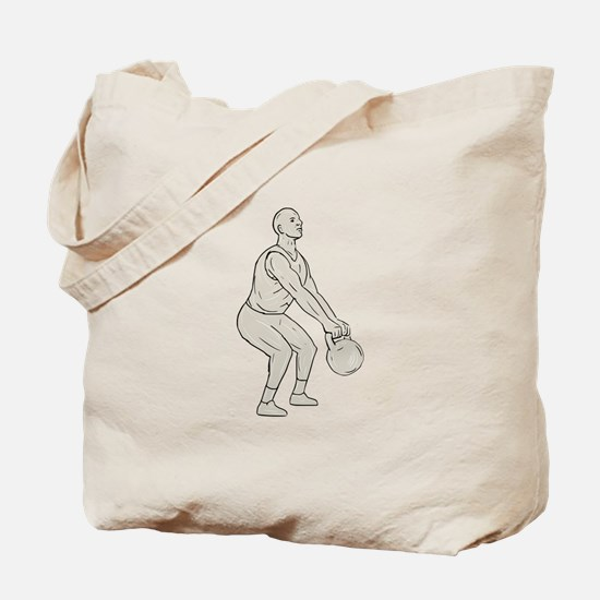 Athlete Fitness Squatting Kettlebell Drawing Tote