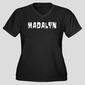 Madalyn Faded (Silver) Women's Plus Size V-Neck Da