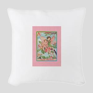 Apple Blossom Fairies Woven Throw Pillow
