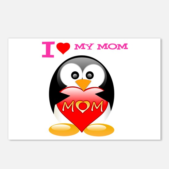 I love my mom tux Postcards (Package of 8)