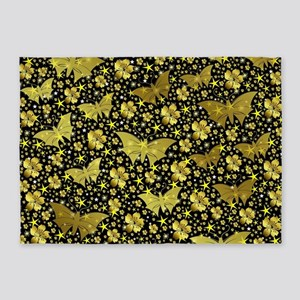 gold, golden, flowers, stars, butte 5'x7'Area Rug
